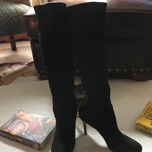 Coach Black Suede Knee High Stiletto Boots